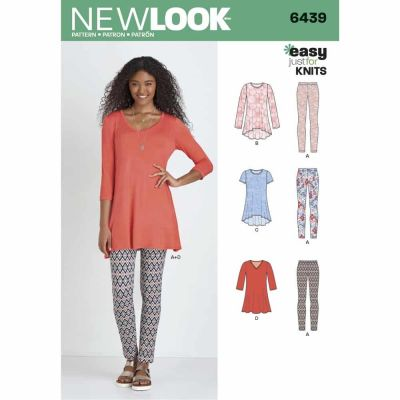 New Look Sewing Pattern 6439 Misses' Knit Tunics with Leggings