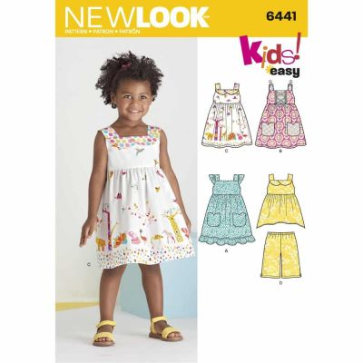 New Look Sewing Pattern 6441 Toddlers' Easy Dresses, Top and Cropped Pants