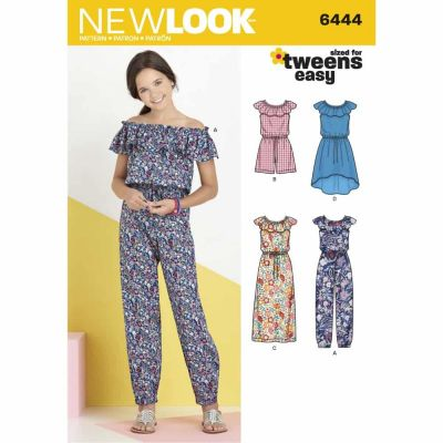 New Look Sewing Pattern 6444 Girl's Dress and Jumpsuit in Two Lengths