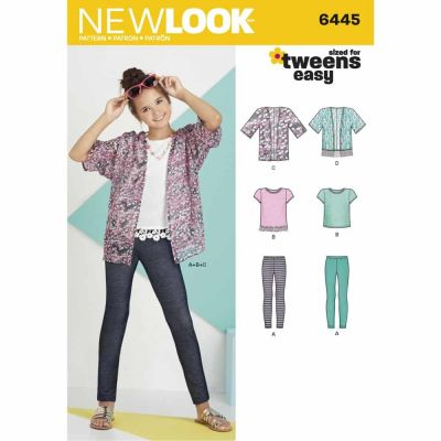 New Look Sewing Pattern 6445 Easy Girl's Kimono, Knit Top and Leggings