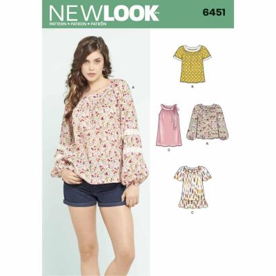 New Look Sewing Pattern 6451 Misses' Blouse with Length and Sleeve Variations