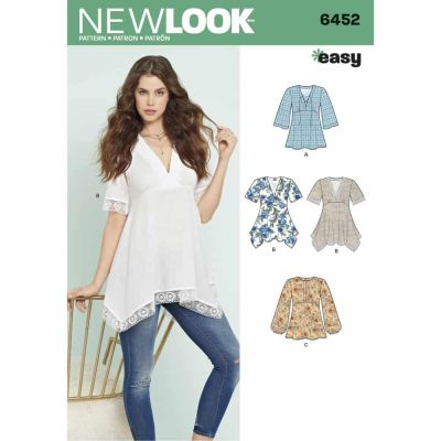 New Look Sewing Pattern 6452 Misses' Tops with Bodice and Hemline Variations