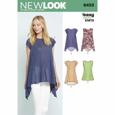 New Look Sewing Pattern 6453 Misses' Easy Knit Tops