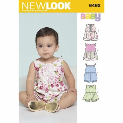 New Look Sewing Pattern 6462 Babie's Rompers with Trim Variations