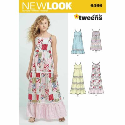 New Look Sewing Pattern 6466 Girls' Dresses with Trim, Bodice and Lace Variations