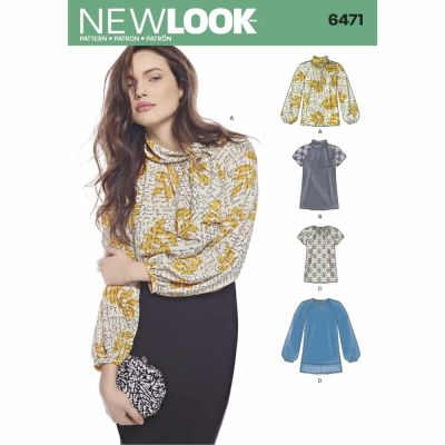 New Look Sewing Pattern 6471 Misses' Blouses and Tunic with Neckline Variations