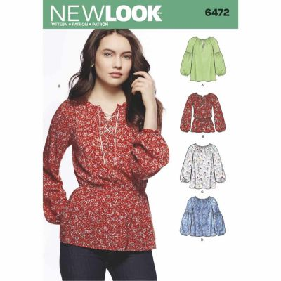 New Look Sewing Pattern 6472 Misses' Boho Blouses