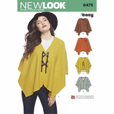 New Look Sewing Pattern 6475 Misses' Easy Poncho and Cape