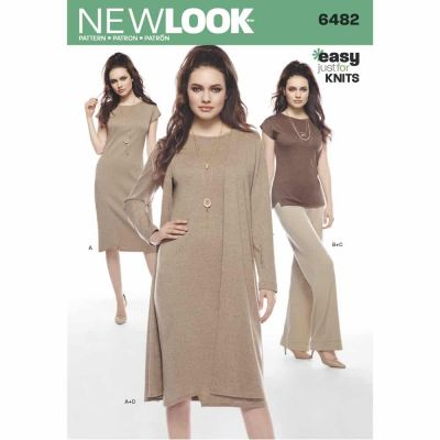 New Look Sewing Pattern 6482 Misses' Knit Dress, Tunic, Pants and Duster