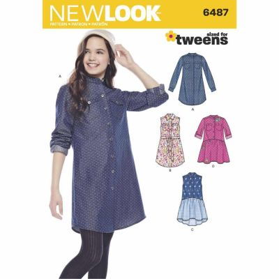 New Look Sewing Pattern 6487 Girls' Shirt Dresses and Tie Belt