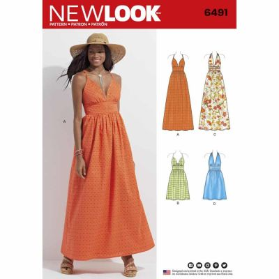 New Look Sewing Pattern 6491 Misses Dresses in two Lengths with Bodice Variations