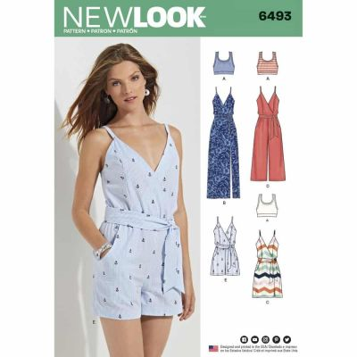 New Look Sewing Pattern 6493 Misses' Jumpsuit and Dress in Two Lengths with Bralette
