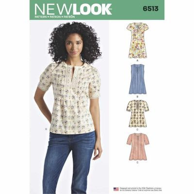 New Look Sewing Pattern 6513 New Look Pattern 6513 Womens   Dress or Top With Sleeve and Trim Variations