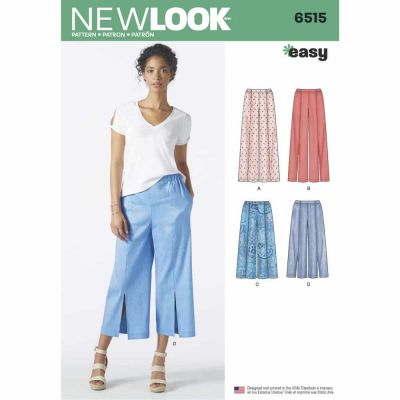 New Look Sewing Pattern 6515 Womens Pants in Two Lengths With Optional Topstitching or Slits
