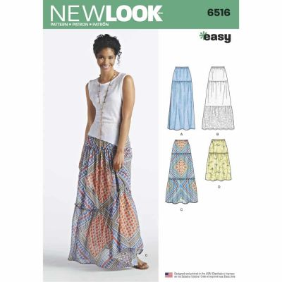 New Look Sewing Pattern 6516 Womens Skirts With Length and Fabric Variations