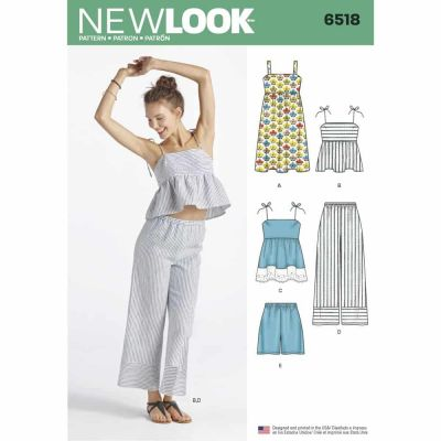 New Look Sewing Pattern 6518 Womens Dress, Tops in Two Lengths, Pants, and Shorts