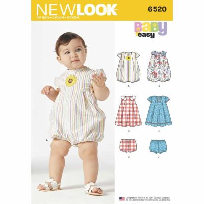 New Look Sewing Pattern 6520 Babies' Romper and Dress with Panties