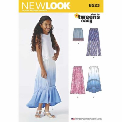 New Look Sewing Pattern 6523 Girls' Skirts with Length and Fabric Variations