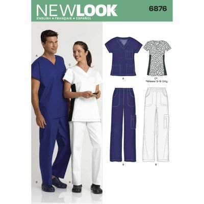 New Look Sewing Pattern 6876 Miss/Men Scrubs