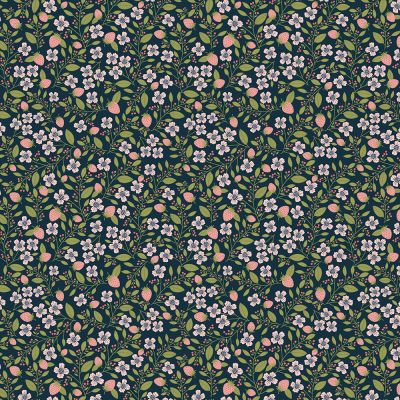 Remnant -Nutex - Daisy Mae - Berry Blossoms Navy - 50 x 55cm