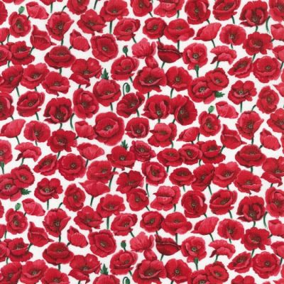 Nutex Poppies Field White Cut Length