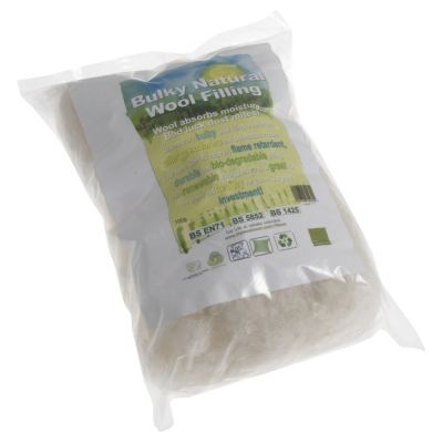 Bulky Natural Wool Filling / Stuffing 100g
