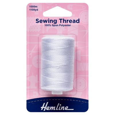 Hemline Sewing Thread - 5 x 1000m - White