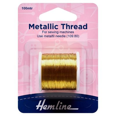 Hemline Metallic Thread - 100m - Gold