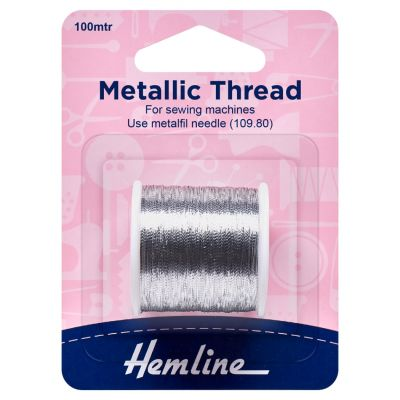 Hemline Metallic Thread - 100m - Silver