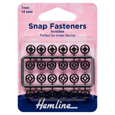 Hemline Sew-on Snap Fasteners - Black (Invisible) - 7mm - Pack of 12