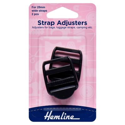 Hemline Strap Adjustable Buckle - Black - 25mm - 2 Pieces