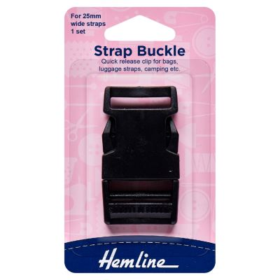 Hemline Black Strap Buckle - 25mm  - 1 Piece