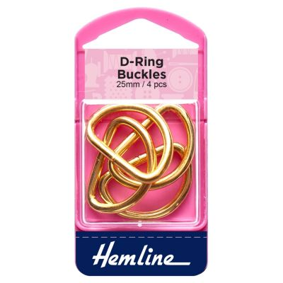 Hemline Buckles D Rings - Gold - 25mm - 4 Pieces