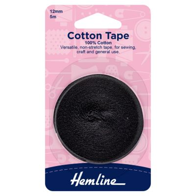 Cotton Tape - Black - 5m x 12mm