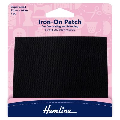 Hemline Iron-on Repair Fabric - Black - 12cm x 44cm/Super Sized - 1 Pc