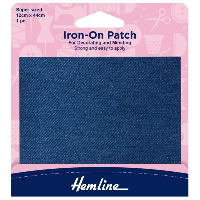 Hemline Iron-on Repair Fabric - Mid Denim - 12cm x 44cm/Super Sized - 1 Piece