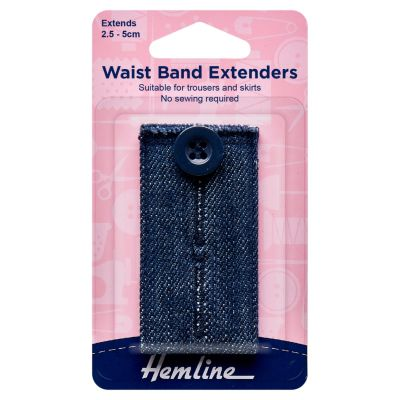 Hemline Waistband Extender Button - Dark Denim - Extend (2.5-5cm)