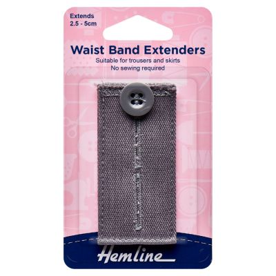 Hemline Waistband Extender Button - Light Grey - Extends (2.5-5cm)