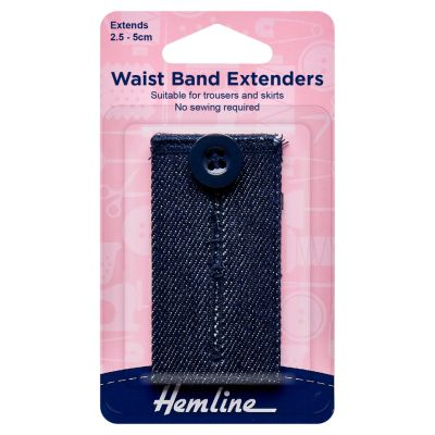 Hemline Waistband Extender Button - Medium Denim - Extends (2.5-5cm)