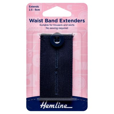 Hemline Waistband Extender Button - Navy - Extends (2.5-5cm)