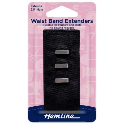 Hemline Waistband Extender Hook - Black - Extends (2.5-5cm)