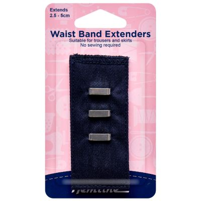 Hemline Waistband Extender Hook - Navy - Extends (2.5-5cm)
