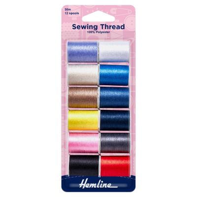 Hemline Sewing Thread - Assorted Colours - 12 spools x 30m