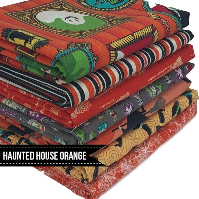 Halloween Fat Quarter Bundle: Riley Blake - Haunted House - Orange - 6 Fabrics