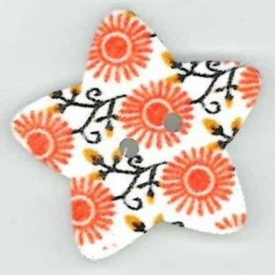 Orange Flower Star Shaped Wooden buttons 2 Hole 25mm