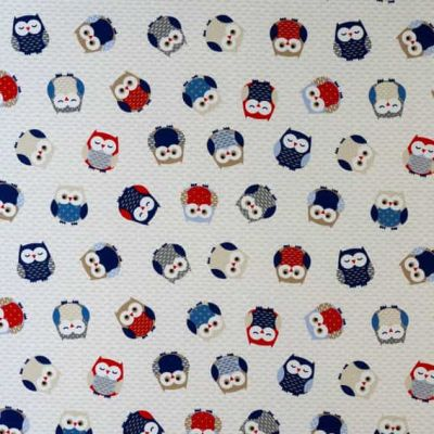 Owl Toss - Red/Blue - Curtain Fabric