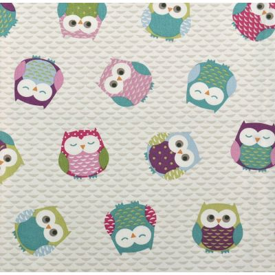 Laminated Cotton - Owls - Multi
