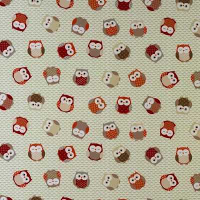 Laminated Cotton - Owls - Orange Red