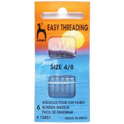 Pony Gold Eye Sewing Needles - Easy Thread / Finishing Needles- Size 4-8