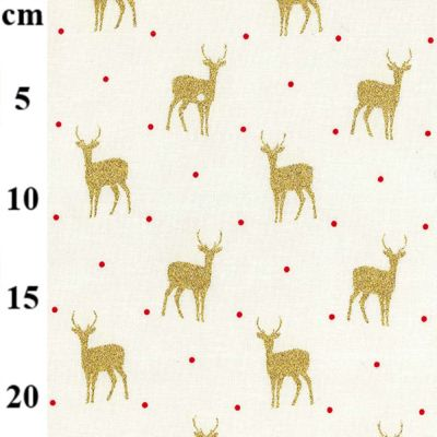 Christmas Cotton Reindeer On Ivory Metallic
